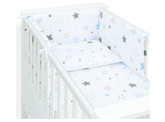 Mamo Tato 3-dielny set do postieľky s mantinelom - Big Stars modré, 135 x 100 cm