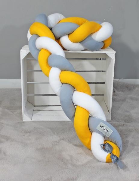 Mantinel Baby Nellys pletený vrkoč - žltá, biela, sivá