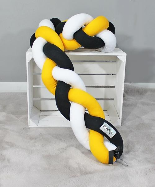 Mantinel Baby Nellys pletený vrkoč - žltá, čierna, biela