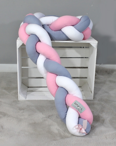 Mantinel Baby Nellys pletený vrkoč - ružová, sivá, biela