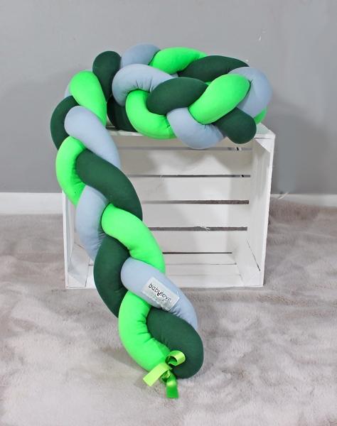 Mantinel Baby Nellys pletený vrkoč - tm. zelená, zelená, sivá