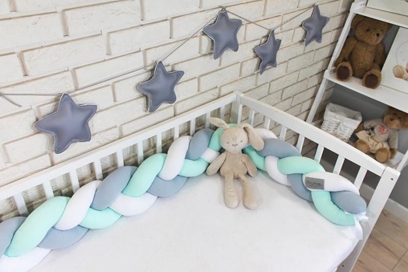 Mantinel Baby Nellys pletený vrkoč - šedá, mätová, biela