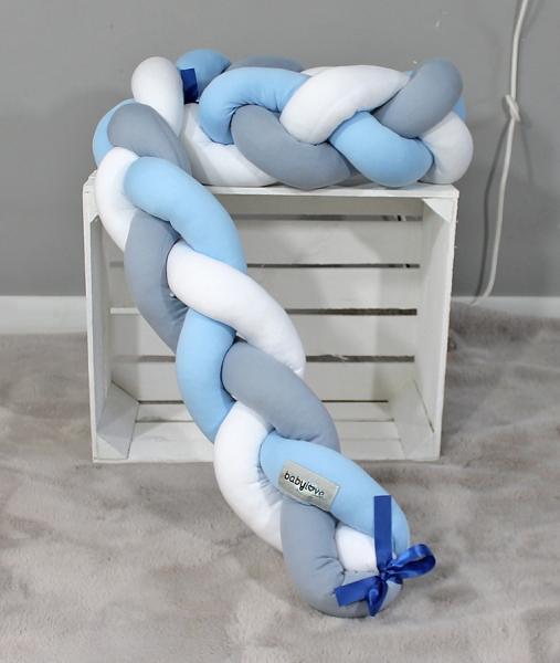 Mantinel Baby Nellys pletený vrkoč - sivá, biela, sv. modrá