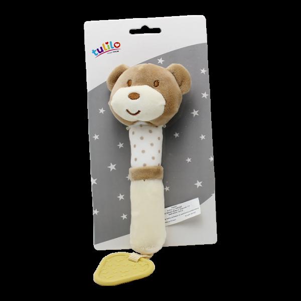 Plyšová hračka Tulilo s pískátkem Medvedík, 17 cm - sv. hnedý, K19