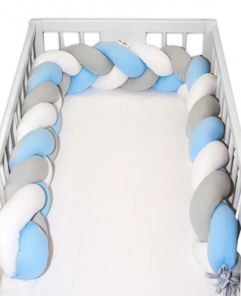 Mantinel Baby Nellys pletený vrkoč - modrá, biela, sivá