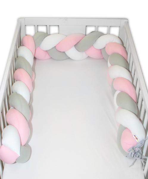 Mantinel Baby Nellys pletený vrkoč - ružová, biela, sivá
