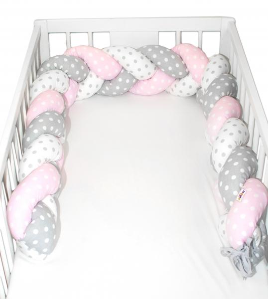 Mantinel Baby Nellys pletený vrkoč Bubble - ružová, biela, sivá