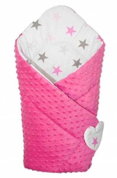 Mamo Tato Obojstranná zavinovačka Minky Baby - Hviezdy ružové a sivé/ tm. ružová