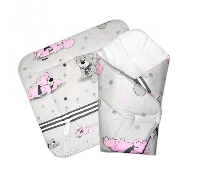 Baby Nellys  Novorodenecká zavinovačka, 75x75cm - Medvedí na lúke - ružové v šedej