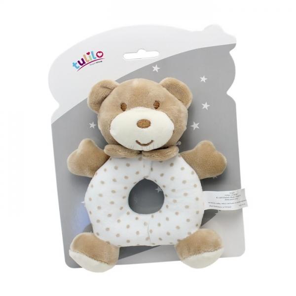 Plyšová hračka Tulilo s hrkálkou Macko, 17 cm - sv. hnedý