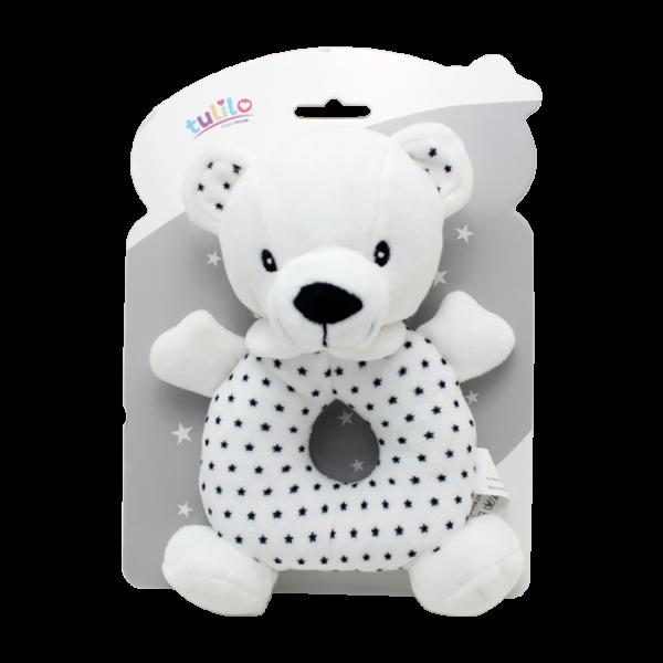 Plyšová hračka Tulilo s hrkálkou Macko, 18 cm - black&white, K19