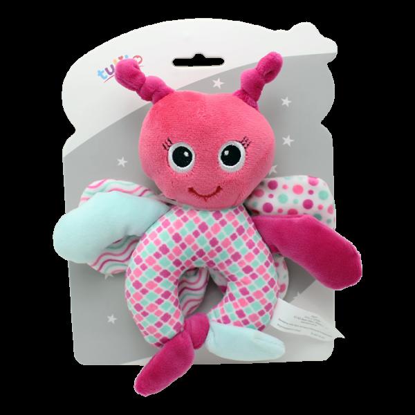 Plyšová hračka Tulilo so zvončekom a šuštiacimi krídlami Motýlik, 17 cm - ružová, K19