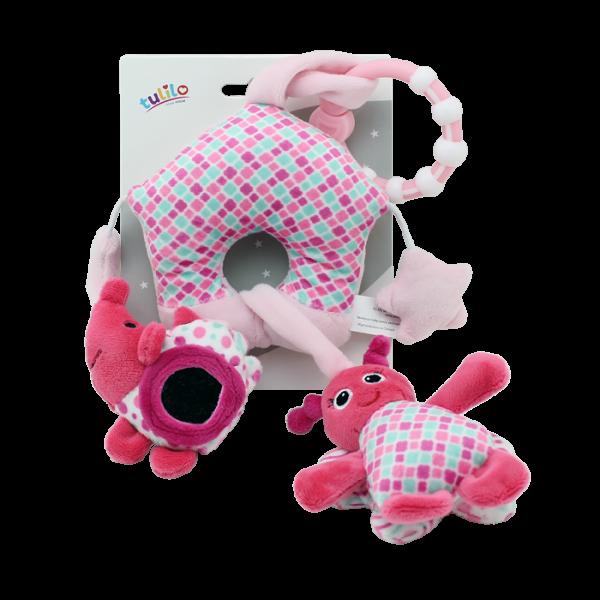 Závesná plyš. hračka Tulilo s hrkálkou, zrkadlom a pískatkom Motýlik, 38 cm ružová, K19