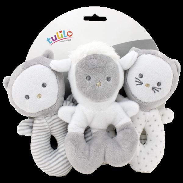 Sada tri hrkálok Tulilo - Mačička, medvedík, baránok, K19