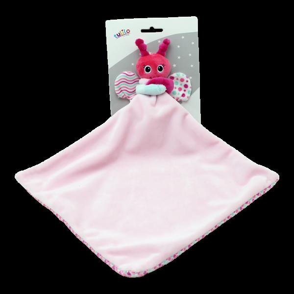 Přítulníček, maznáčik Tulilo Motýlik, 25x25 cm - ružový, K19