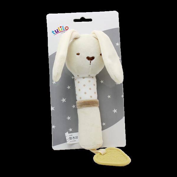 Plyšová hračka Tulilo s pískátkem Králiček, 17 cm - smotanový