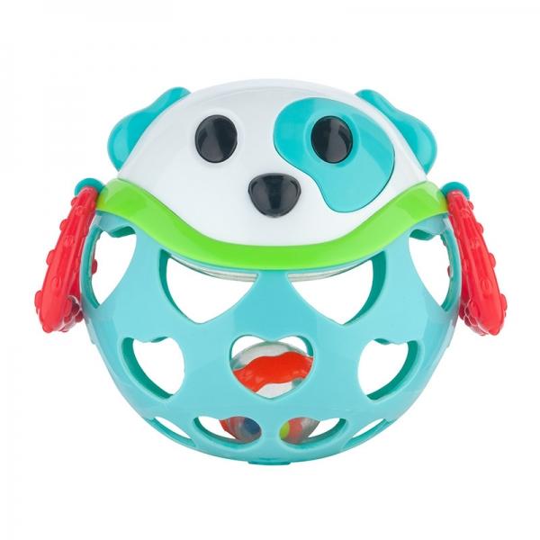 Interaktívna hračka Canpol Babies, loptička s hrkálkou - Psík tyrkysový