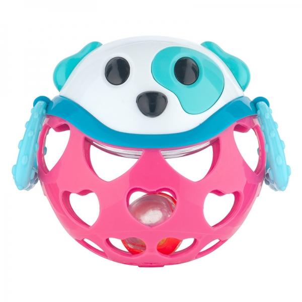 Interaktívna hračka Canpol Babies, loptička s hrkálkou - Psík ružový