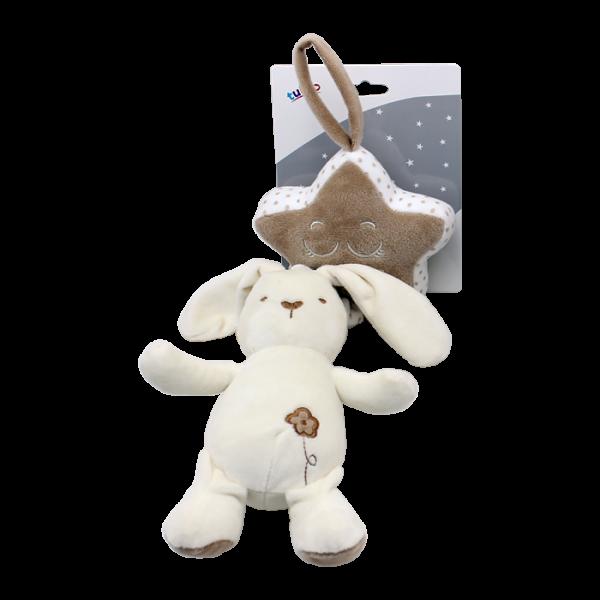 Závesná plyšová hračka Tulilo s melódiou Králiček, 35 cm - smotanový