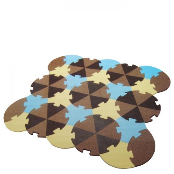 Tulilo Detská hracia podložka puzzle, 27 ks - Trojuholníky - hnedé, K19