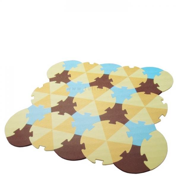 Tulilo Detská hracia podložka puzzle, 27 ks - Trojuholníky - béžové, K19