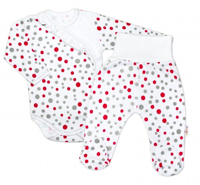 2-dielna dojčenská sada Baby Nellys ® Bodky - biela, veľ. 68-68 (4-6m)