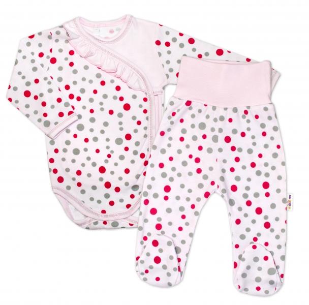 2-dielna dojčenská sada Baby Nellys ® Bodky - ružová, veľ. 68-68 (4-6m)
