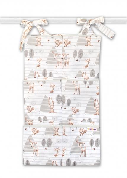 Vreckár na postieľku Baby Nellys 6 vreciek - zvieratká v lese, šedý