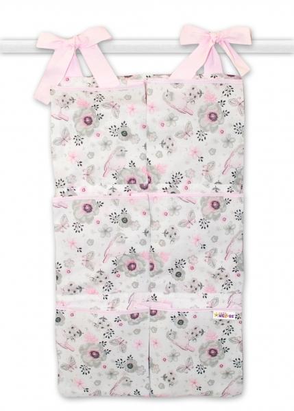 Vreckár na postieľku Baby Nellys 6 vreciek - vtáčiki, ružový