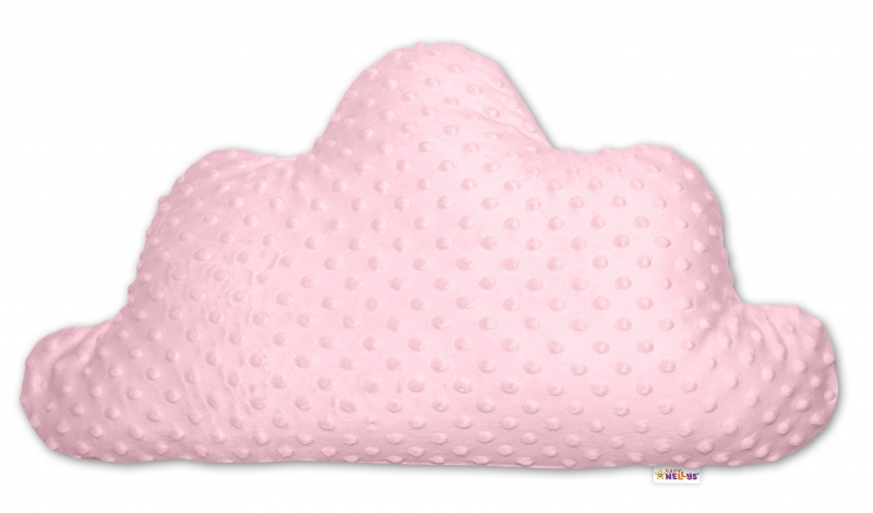 Baby Nellys  Detský dekoračný vankúš Baby Nellys, mráčik - Minky růžový