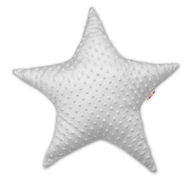 Baby Nellys  Detský dekoračný vankúš Baby Nellys, hviezdička - Minky sivá
