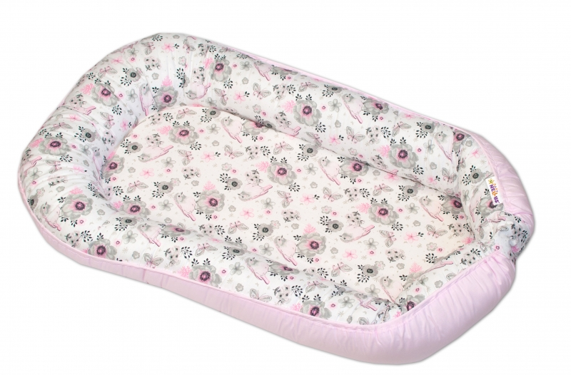 Baby Nellys  Obojstranné hniezdočko / kokon Baby Nellys, 70x93 cm, Vtáčiky - ružové