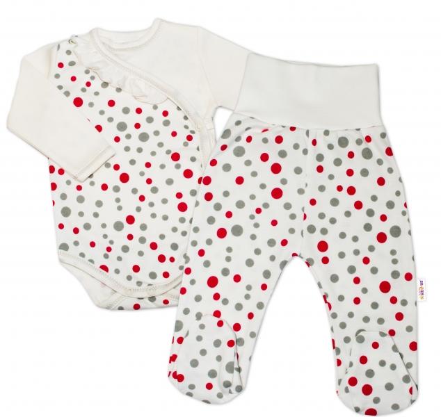 2-dielna dojčenská sada Baby Nellys ® Bodky - smotanová, veľ. 68