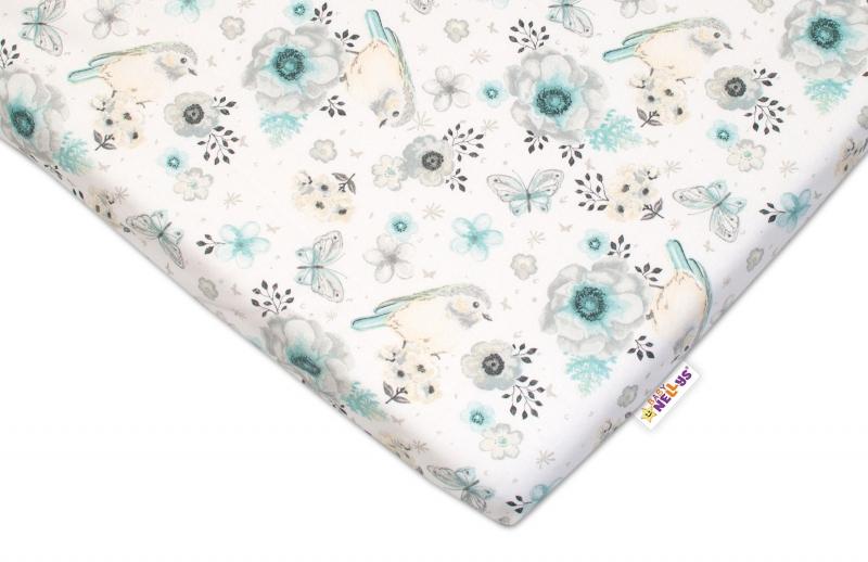 Detské bavlnené prestieradlo do postieľky Baby Nellys - Vtáčiky - mätová, 120x60 cm