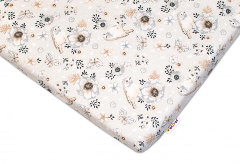 Detské bavlnené prestieradlo do postieľky 140x70 cm Baby Nellys - Vtáčiki - béžová-140x70