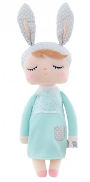 Handrová bábika Metoo s uškami v v mätových šatičkách, 42cm
