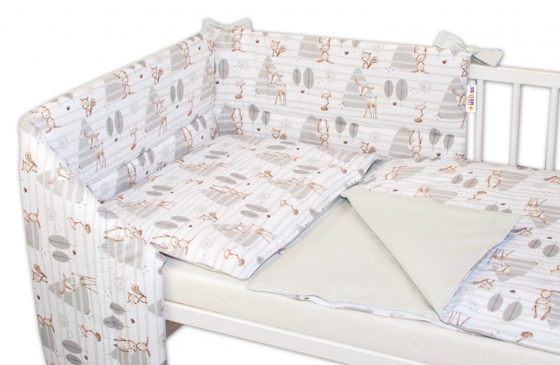 3-dielna sada mantinel s obliečkami Baby Nellys, Zvieratká v lese - šedá, 130x100cm-135x100