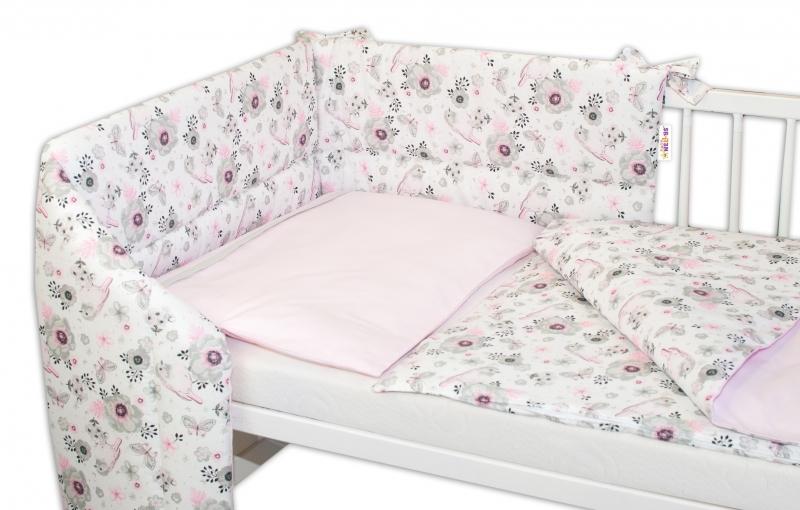 3-dielna sada mantinel s obliečkami Baby Nellys, Vtáčiky - růžová, 135x100cm