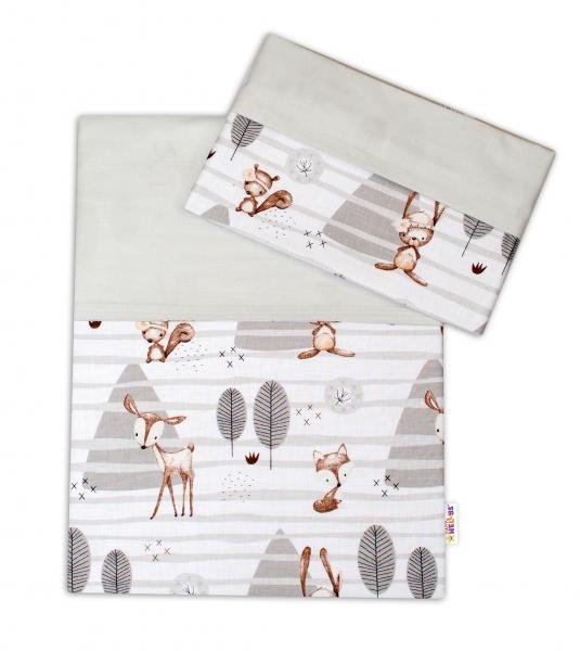 2-dielne bavlnené obliečky Baby Nellys, Zvieratka v lese - sivá