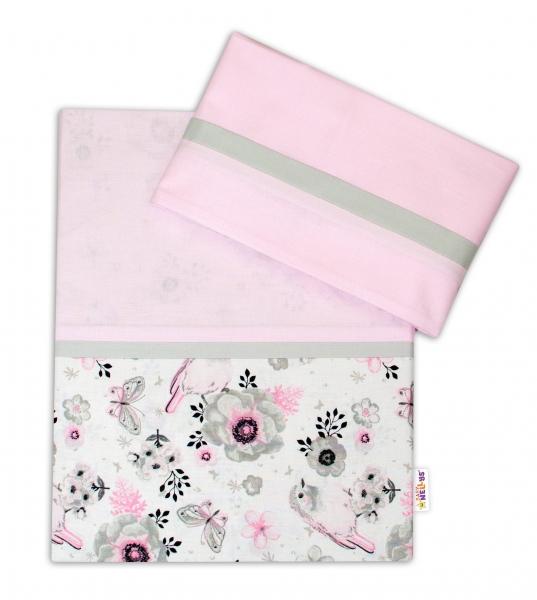 2-dielne bavlnené obliečky Baby Nellys, Vtáčiki - ružová, 120x90 cm