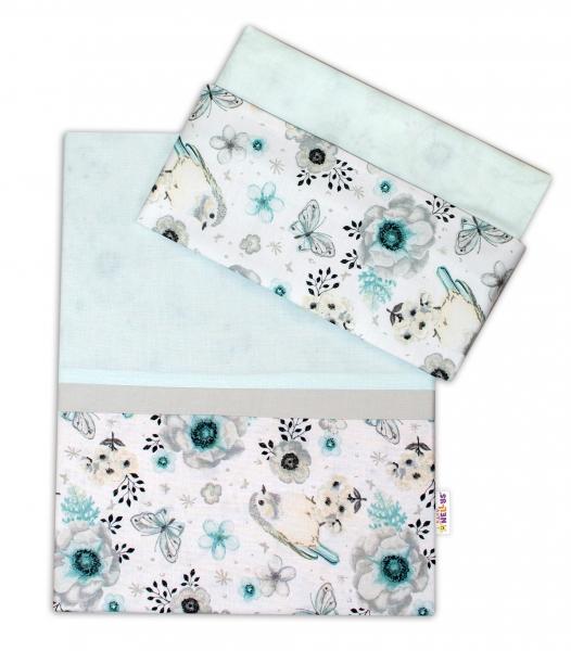 2-dielne bavlnené obliečky Baby Nellys, Vtáčiki - mätový, 120x90 cm