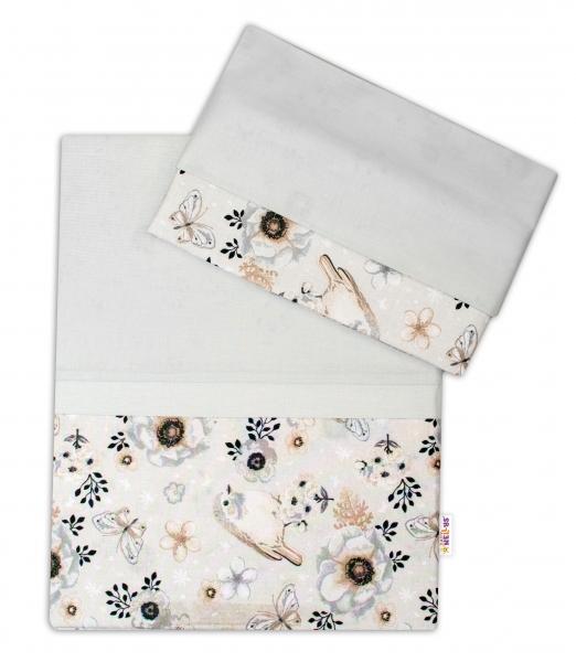 2-dielne bavlnené obliečky Baby Nellys, Vtáčiki - sivý, 120x90 cm