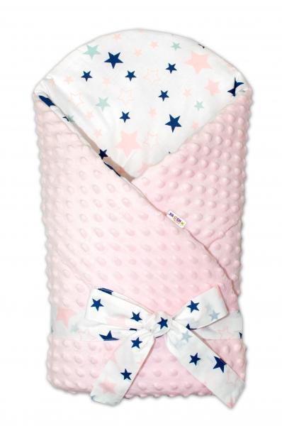 Zavinovačka Minky Baby Nellys Hviezdy a hviezdičky - ružová / granát na bielom, sv. ružová