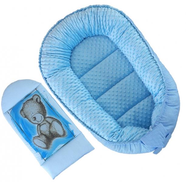 Obojstranné hniezdočko, kokon Baby Nellys Teddy Minky 80x45x15cm - modré