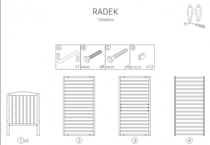 Klups Postieľka RADEK X, 120x60 cm, AKCIA + matrac gratis, sivá