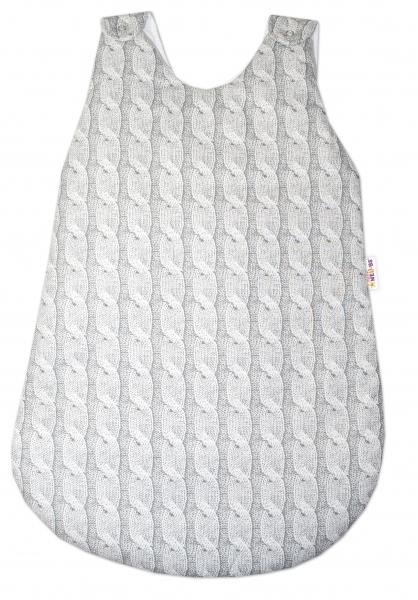 Bavlnený spací vak Baby Nellys, Pletený vrkoč, 74 cm - sivý