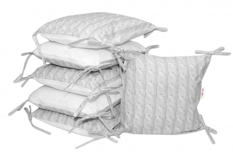 Bavlnený vankúšikový mantinel Baby Nellys, Pletený vrkoč - sivý