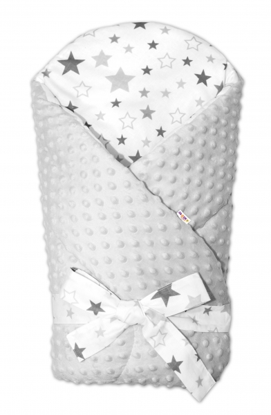 Zavinovačka Minky Baby Nellys Hviezdy a hviezdičky - sivé na bielom, biela