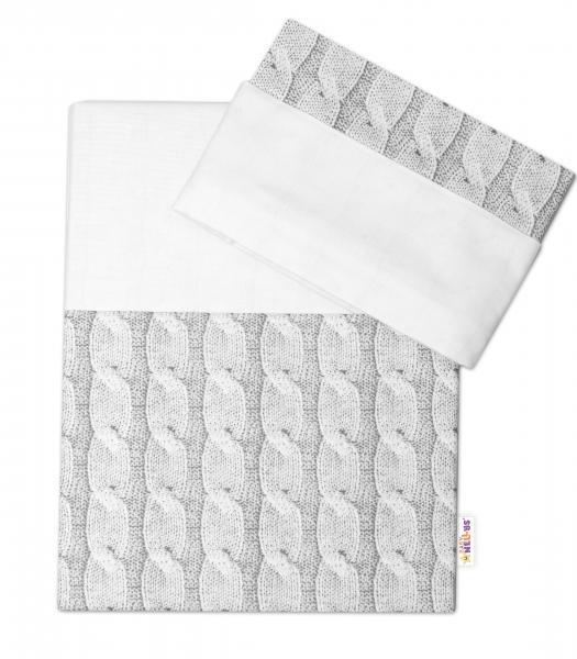 2-dielne bavlnené obliečky Baby Nellys, Pletený vrkoč - sivý, 135x100 cm