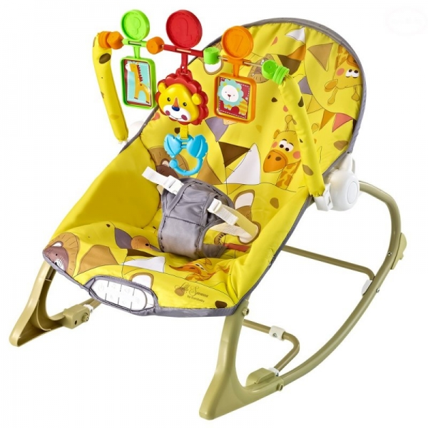 Euro Baby Lehátko, hojdačka pre dojčatá s vibrácií a hudbou  Little savana - žlté, K19